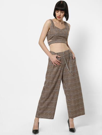 Brown Mid Rise Check Wide Leg Pants