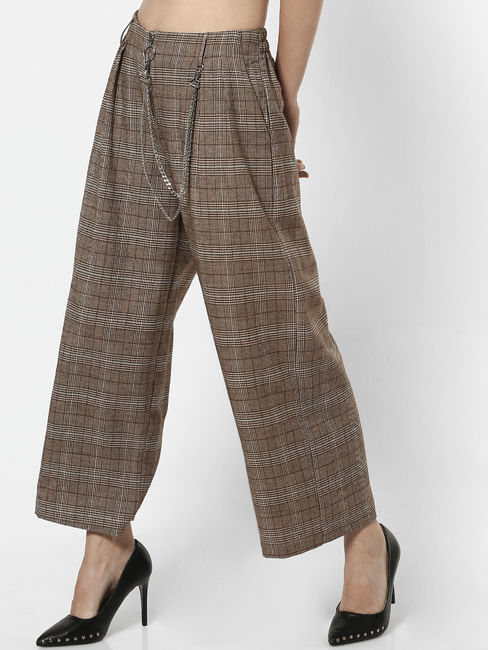 Brown Mid Rise Check Wide Leg Pants