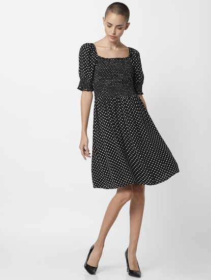Black Printed Smock Fit & Flare Dress