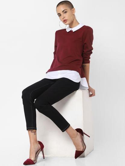 Burgundy Shirt Insert Top