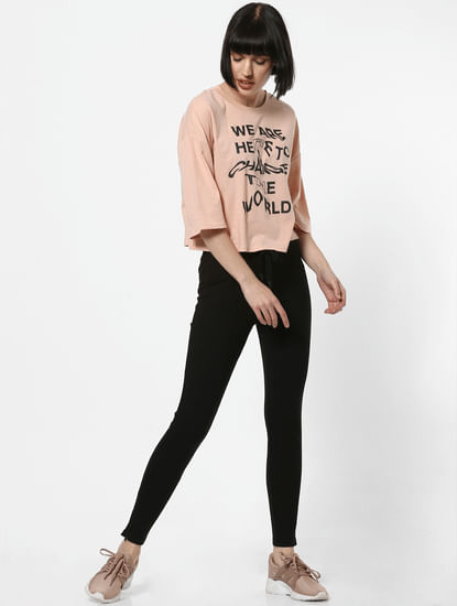 Light Pink Slogan Print T-Shirt