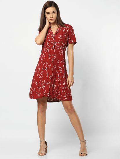 Maroon Floral Print Fit & Flare Dress