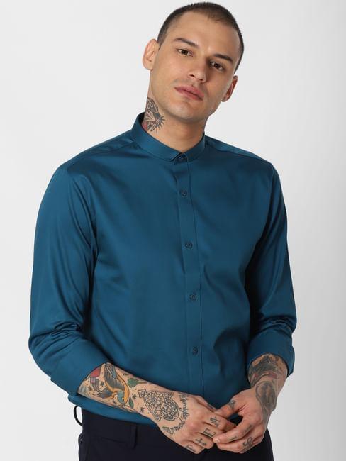 Blue Slim Fit Full Sleeves Shirt
