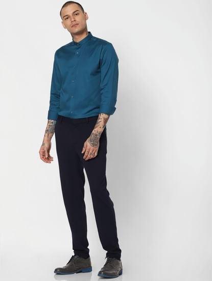 Blue Slim Fit Full Sleeves Shirt