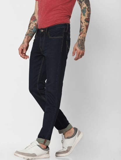 Jack & Jones Blue Low Rise Indigo Knit Ben Skinny Fit Jeans