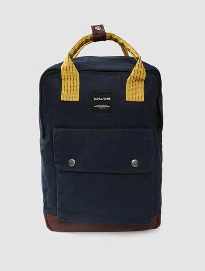 Navy Blue Colourblocked Backpack