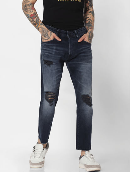 Blue Ripped Frank Anti Fit Jeans