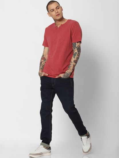 Red Washed Crew Neck T-Shirt
