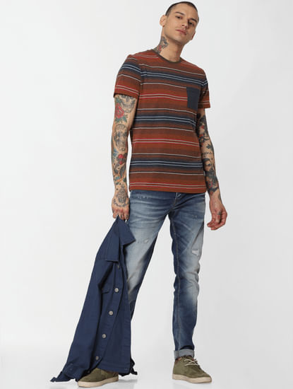 Blue Distressed Glenn Slim Fit Jeans