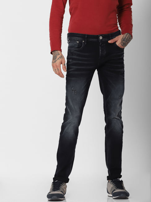 Dark Blue Faded Ben Slim Fit Jeans