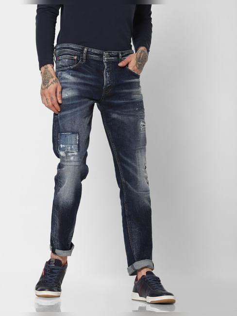 Blue Distressed Faded Tim Slim Fit Jeans