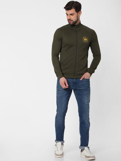 Dark Green Zip Up Sweatshirt