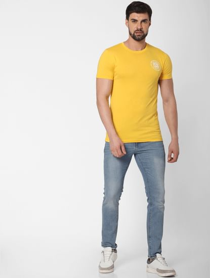 Yellow Logo Print Crew Neck T-Shirt