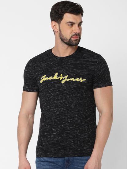 Black Logo Print Crew Neck T-Shirt