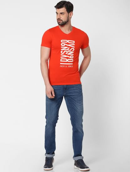 Red Text Print V Neck T-Shirt