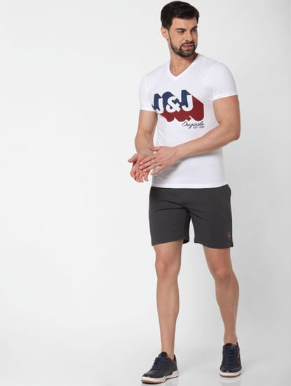 White Logo Print V Neck T-Shirt