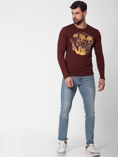 Burgundy Logo Print Crew Neck T-Shirt