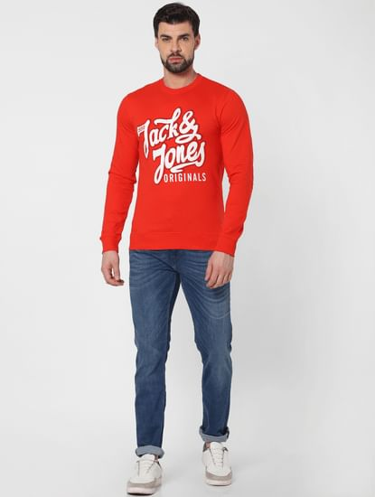 Red Logo Print Sweatshirt