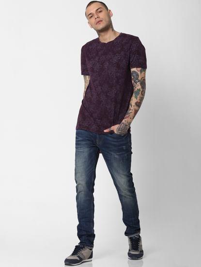 Purple All Over Print Crew Neck T-Shirt
