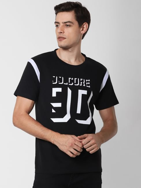 Black Typographic Print Crew Neck T-Shirt