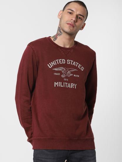 Dark Red Text Print Sweatshirt