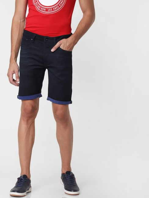 Blue Regular Fit Denim Shorts