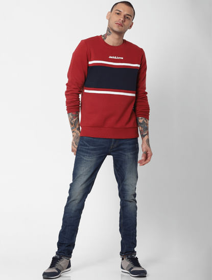 Red Colourblocked Sweatshirt