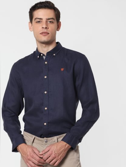 Navy Blue Full Sleeves Shirt