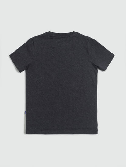 Junior Dark Grey Logo Print Crew Neck T-shirt