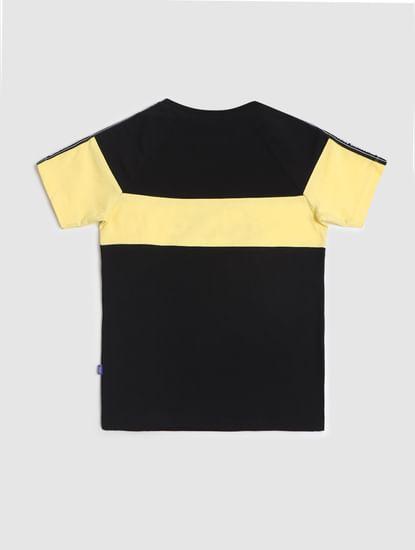 Junior Black Colourblocked Crew Neck T-shirt