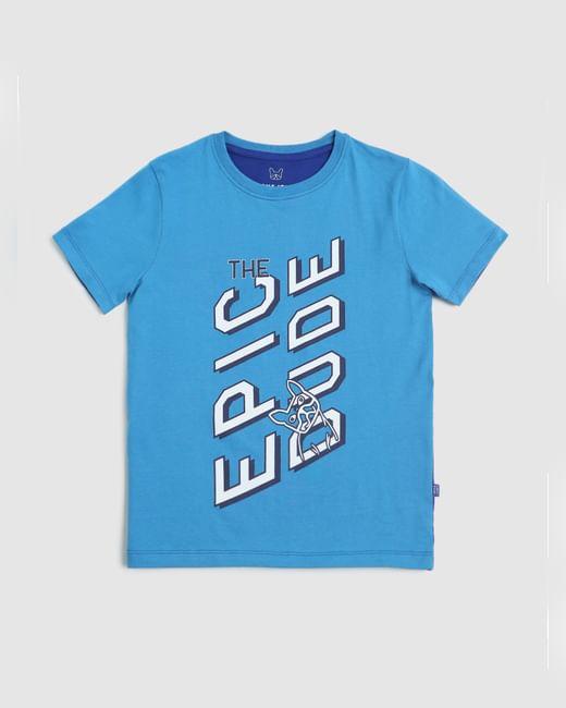 Boys Blue Text Print Crew Neck T-shirt