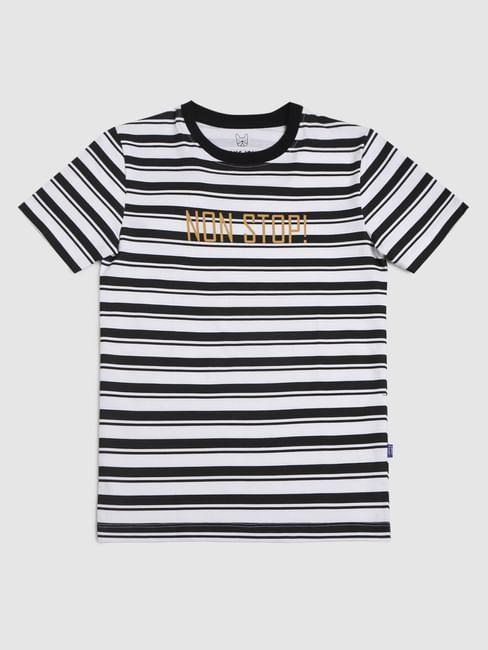 Boys Black Striped Crew Neck T-shirt