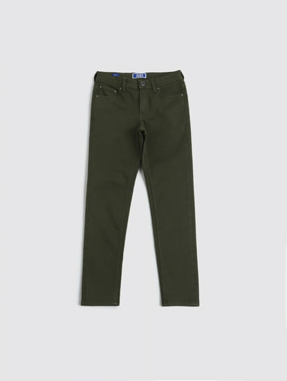 Junior Olive Low Rise Glenn Slim Fit Pants