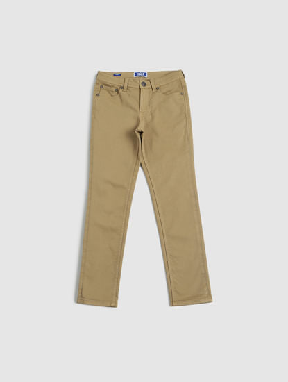 Junior Tan Low Rise Glenn Slim Fit Pants