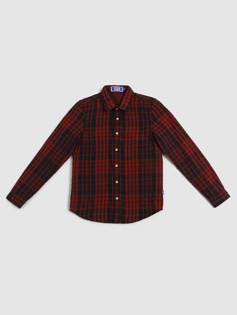 Junior Navy Blue Check Full Sleeves Shirt