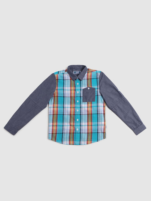 Junior Blue Check Full Sleeves Shirt