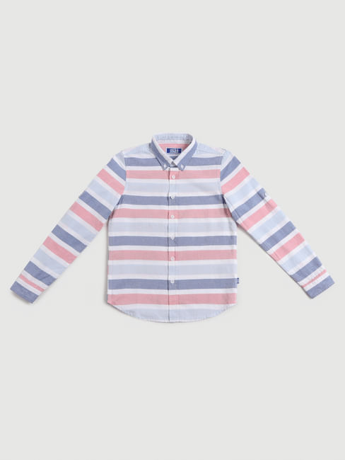 Boys White Striped Full Sleeves Shirt