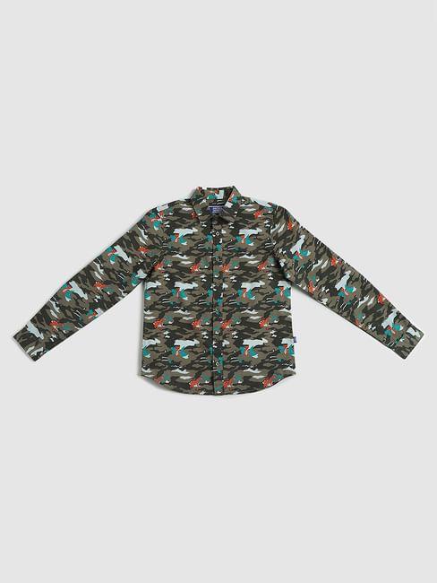 Junior Green Printed Full Sleeves Shirt