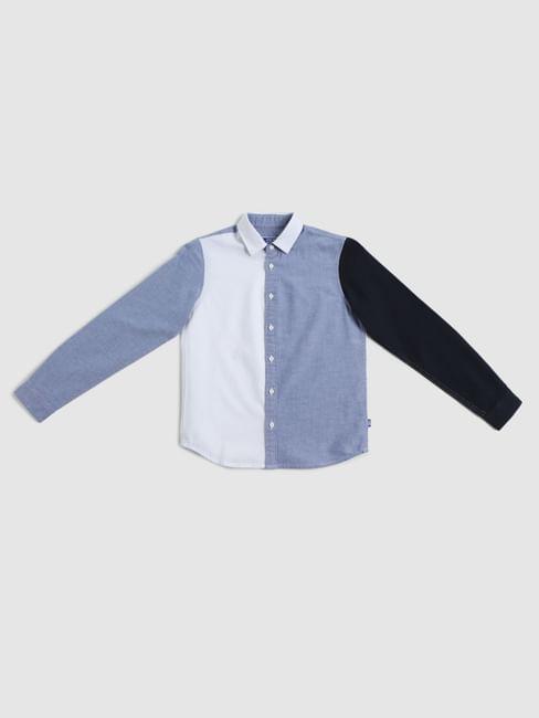Boys White Colourblocked Full Sleeves Shirt