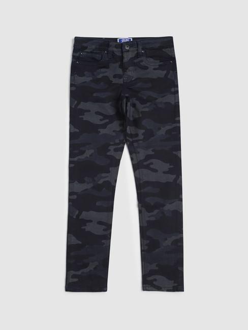 Junior Blue Low Rise Camo Print Liam Skinny Jeans