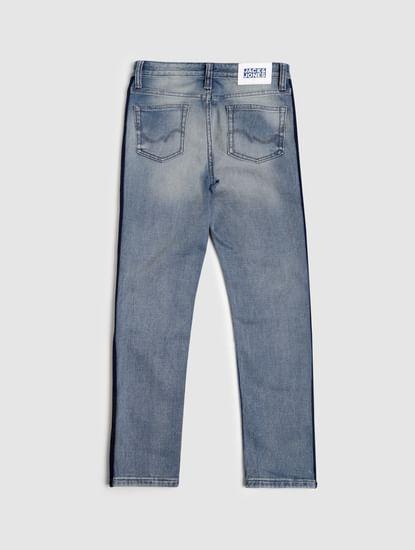 Junior Blue Low Rise Tape Detail Tim Slim Jeans