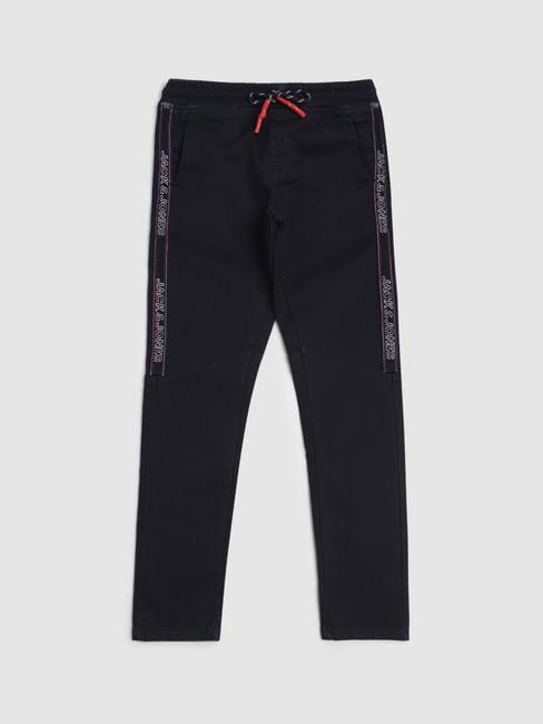 Junior Dark Blue Low Rise Tape Detail Tim Slim Jeans