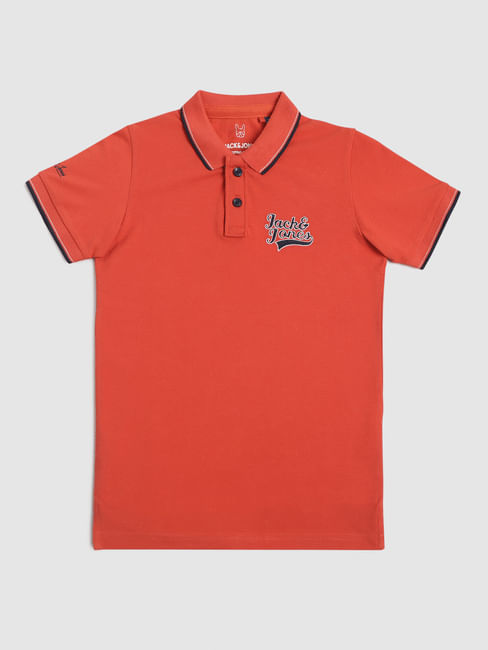 Junior Red Logo Print Polo T-shirt