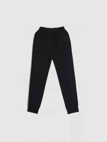 Junior Black Mid Rise Logo Print Sweatpants