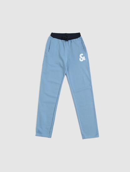 Junior Blue Mid Rise Logo Print Sweatpants