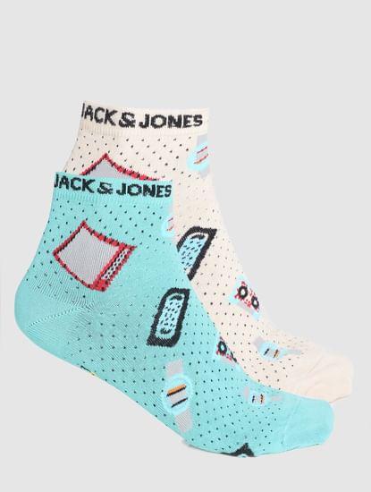 Pack of 2 Printed Ankle Socks - Beige & Green