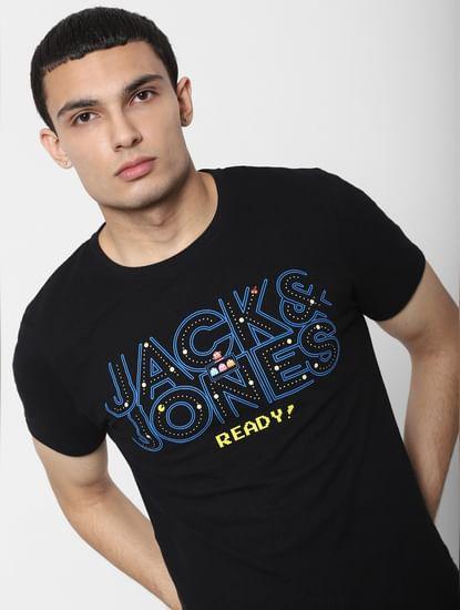 X PAC-MAN Black Logo Print Crew Neck T-shirt