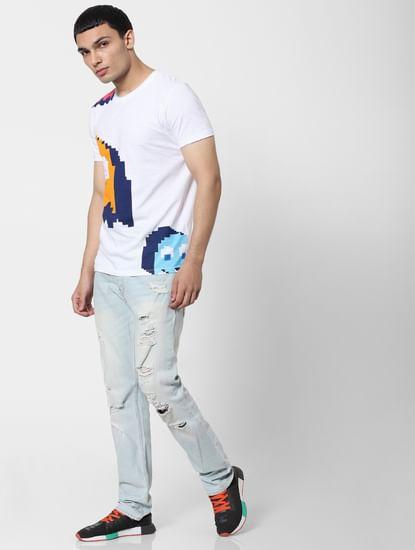 X PAC-MAN White Graphic Print Crew Neck T-shirt