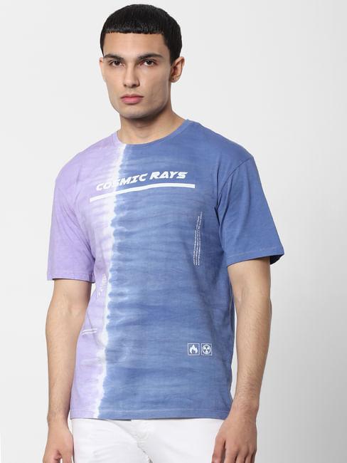 Blue Tie Dye Text Print Crew Neck T-shirt