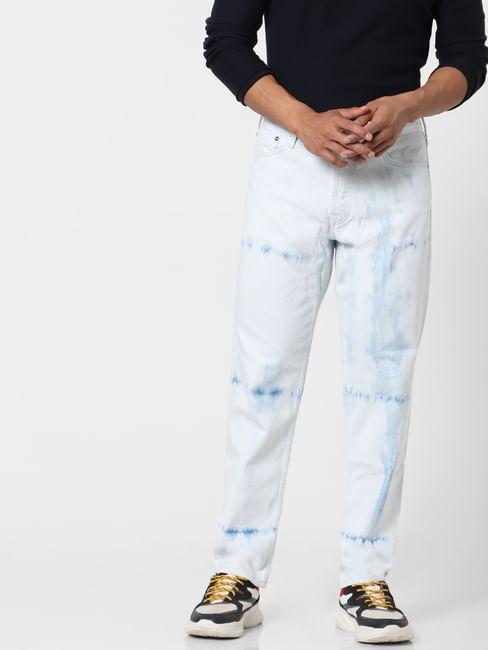 Blue Mid Rise Chris Tie Dye Anti Fit Jeans